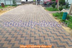Укладка тротуарной плитки с материалом